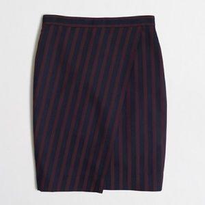 J Crew Navy Striped Wrap Pencil Skirt